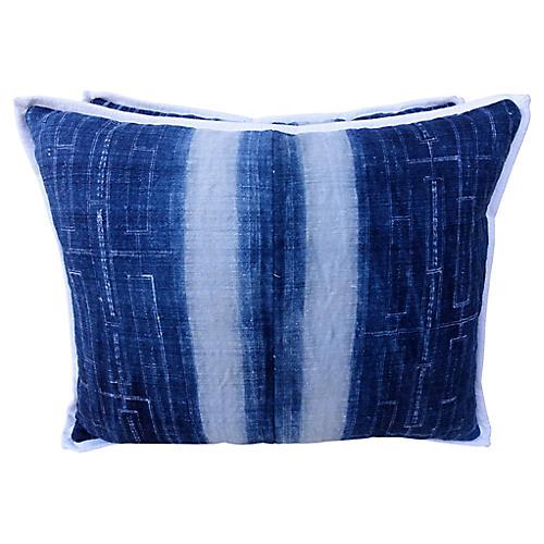 Blue & White Batik Cotton Pillows – Pair