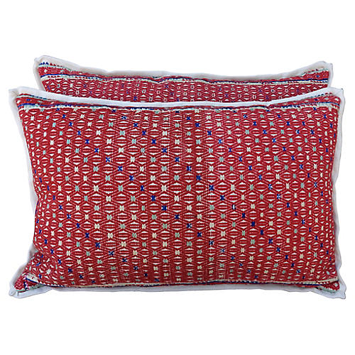 Red Woven Cotton Hmong Pillows, Pair