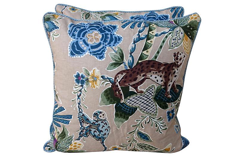 Jungle Cowtan & Tout Pillows, Pair