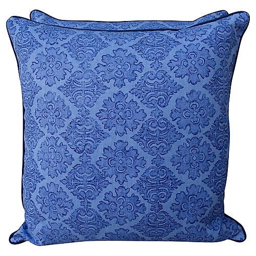 Raoul Blue Printed Linen Pillows, Pair
