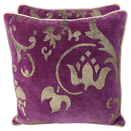 Nomi Gold Stenciled Pillows, Pair