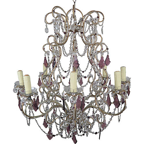 French Crystal Beaded Chandelier