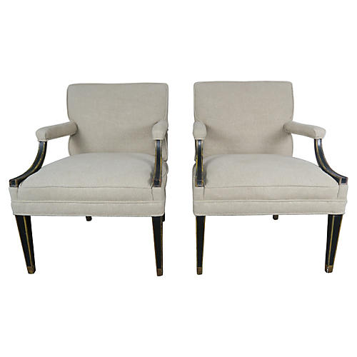 Black Regency Style Armchairs, Pair
