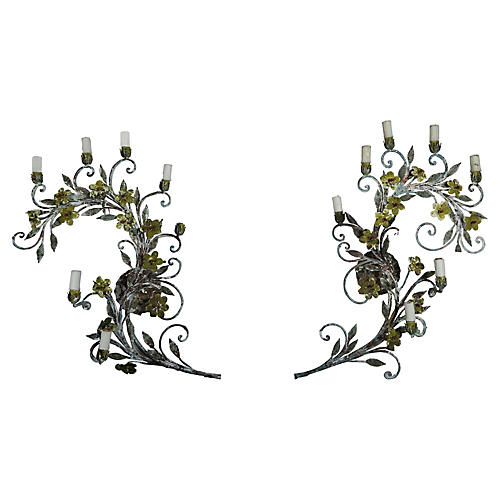 French Painted Louis XV Style Sconces,Pr