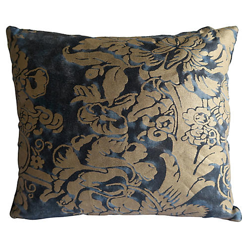 Blue & Gold Fortuny Pillows, Pair