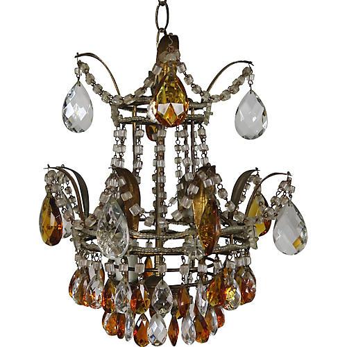 Italian Amber & Clear Crystal Chandelier