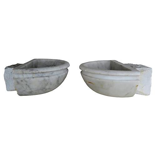 Petite Italian Marble Basins, Pair