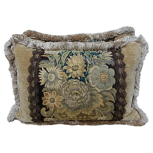 18th C. Flemish Tapestry Pillows, Pair