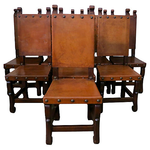 1920s Spanish Leather Dining Chairs, S/8