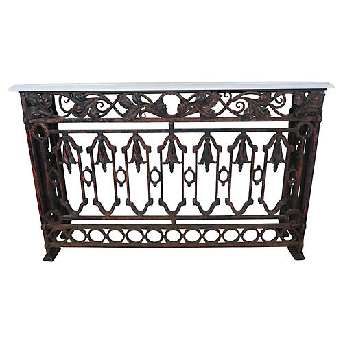 Wrought Iron Console w/ Marble Top