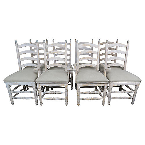Eight French Country Ladder Back Chairs