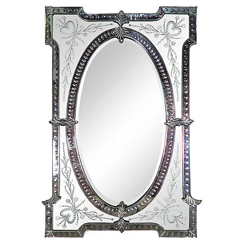 Monumental Etched Venetian Mirror-1930's