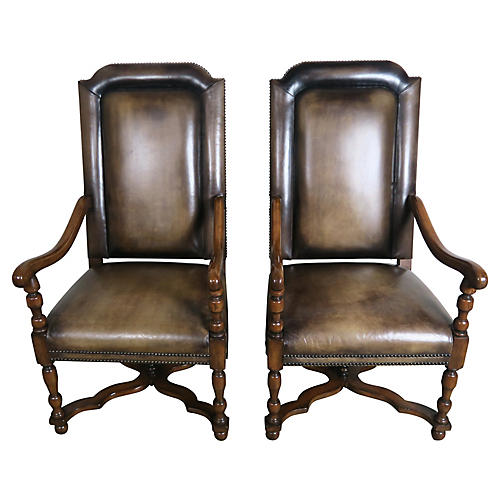 Leather & Mohair Walnut Armchairs, Pair