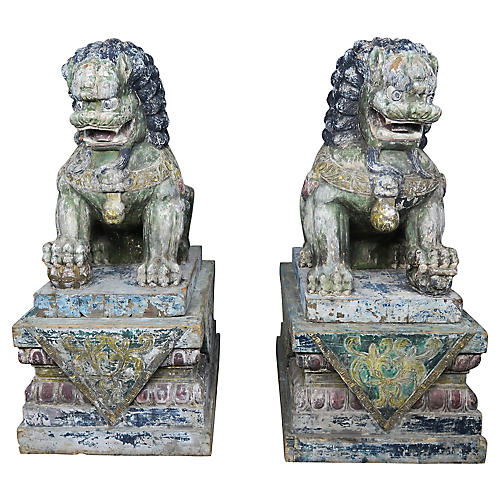 Monumental Carved Wood Painted Foo Dogs