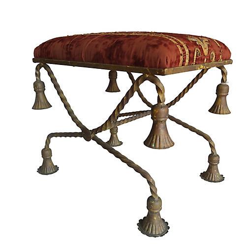 19th C.Textile Brass Tassel Bench