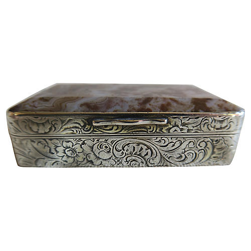 Agate & Etched Silver Pill Box