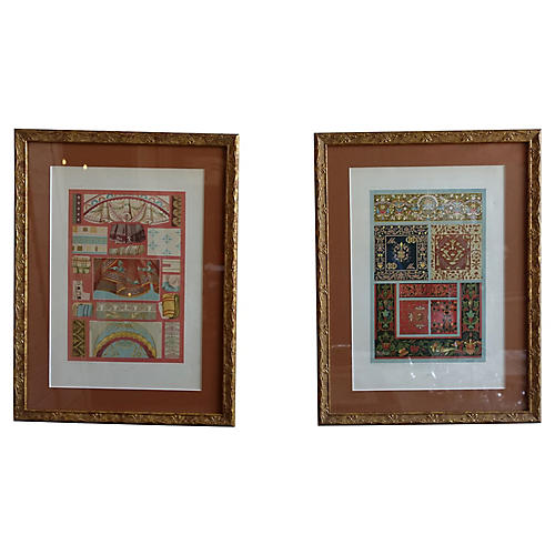 Gilt Wood Framed French Textile Prints