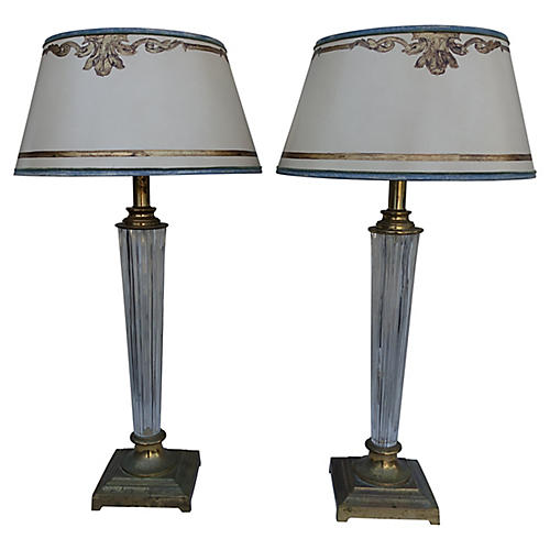 Pair of Waterford Crystal Lamps w/ Shade