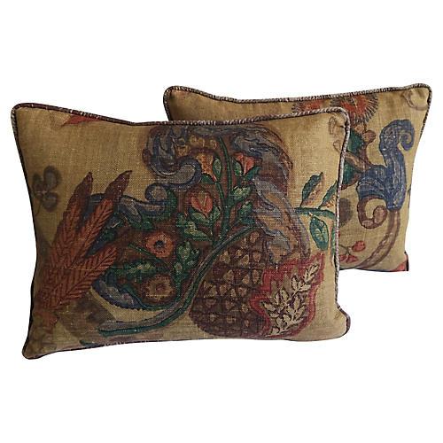 Printed Linen Pillows w/ Silk Backs, Pr