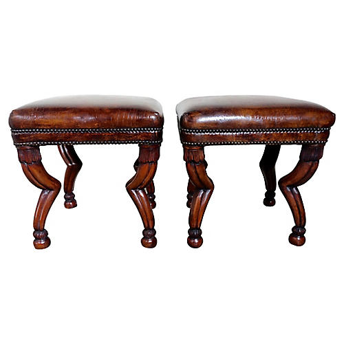 Leather Embossed Gazelle Benches, Pair
