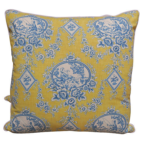 Blue & Yellow Printed Toile Pillows, Pr