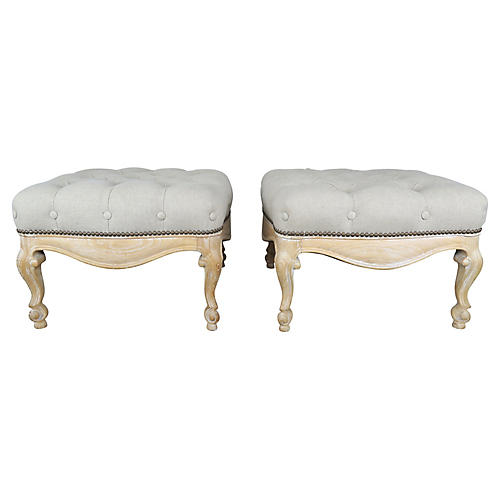 French Carved Belgium Linen Benches, Pr