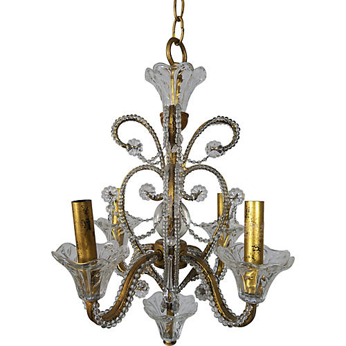 4-Light Crystal Beaded Arm Chandelier