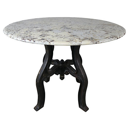 Cast Iron Painted Table w/ Granite Top