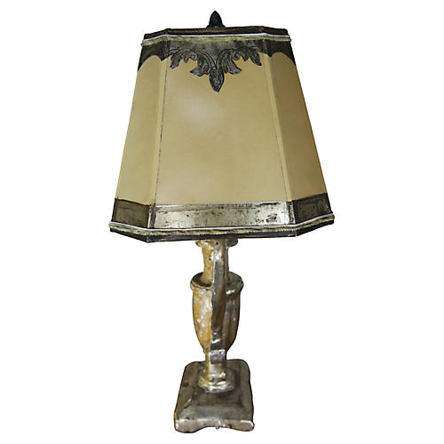 19th C. Silver Gilt Lamp w/ Parch Shade
