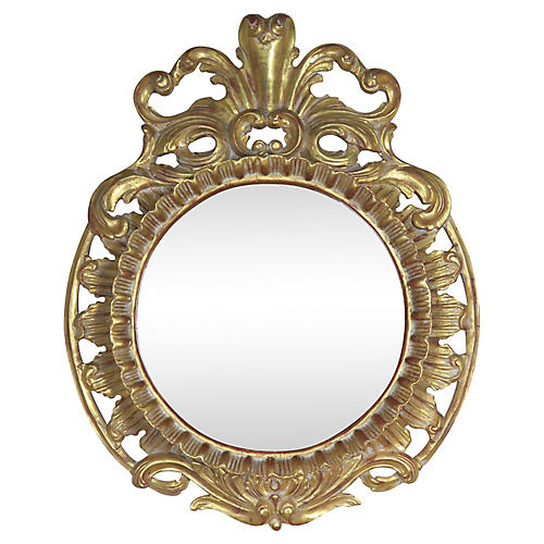 French Gilt Wood Plume Mirror