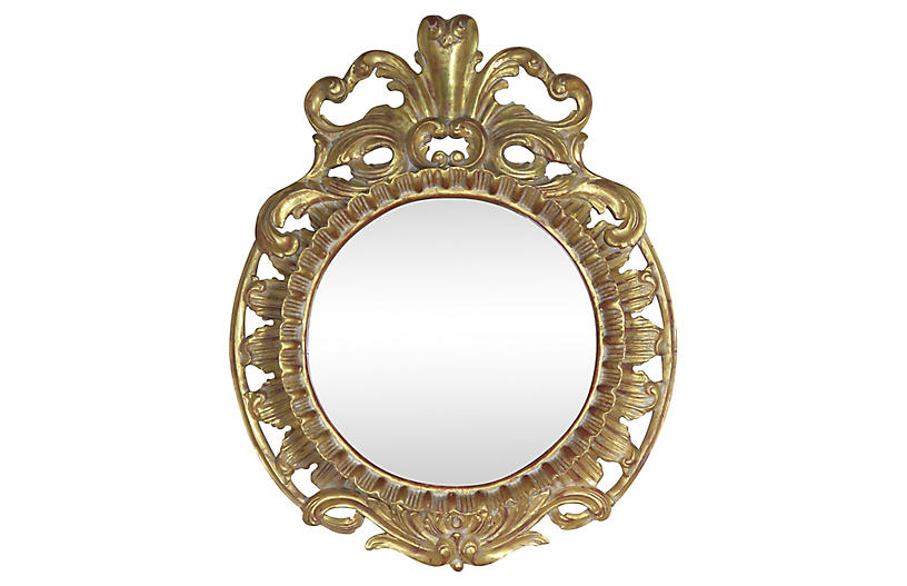 French Gilt Wood Plume Mirror