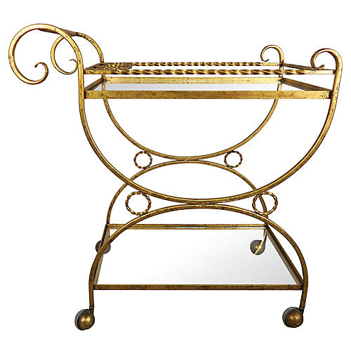 2-Shelf Gilt Metal & Glass Serving Cart