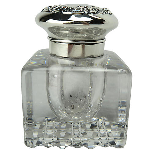 Gorham Crystal Inkwell with Sterling Lid