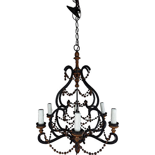 Spanish Iron & Wood Chandelier C. 1940's