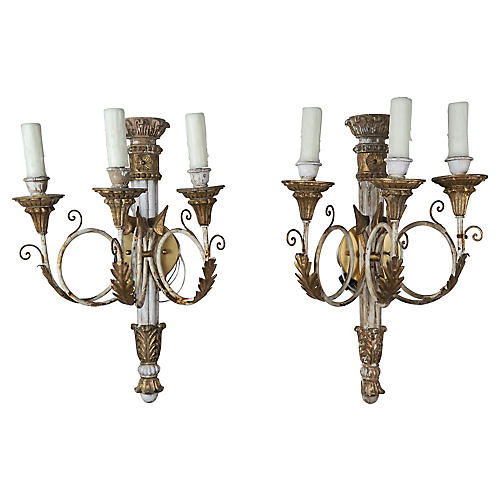 Pair of French Empire Style Sconces
