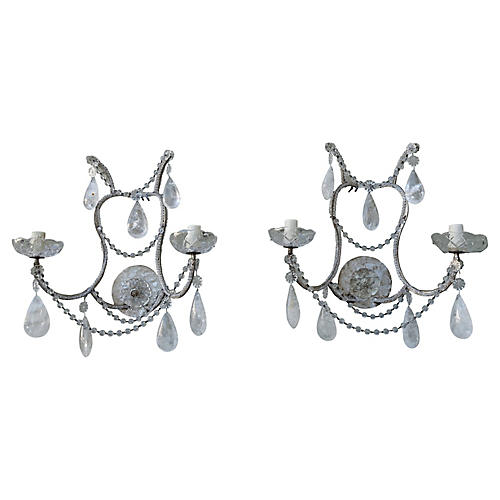 2-Light Beaded Rock Crystal Sconces, Pr