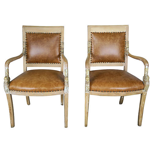 Pair of Dolphin Leather Armchairs