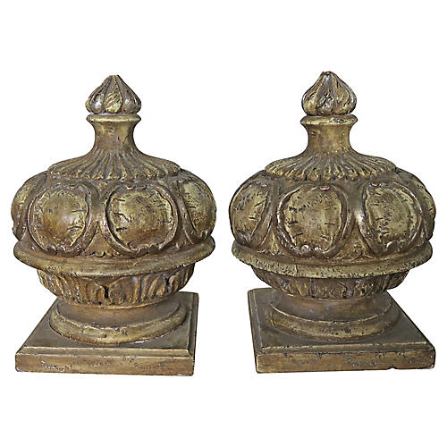 Italian Painted Wood Carved Finials, Pr