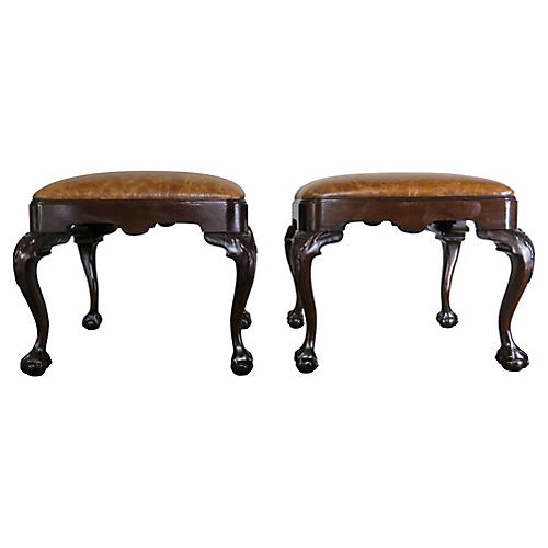 English Queen Anne Leather Benches, Pair