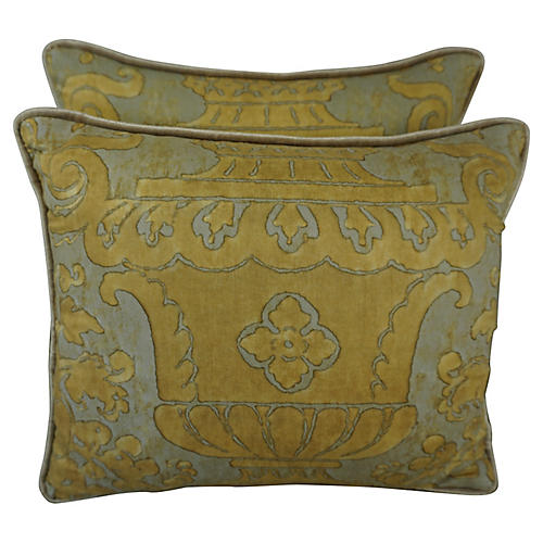 Silver & Gold Fortuny Pillows, Pair