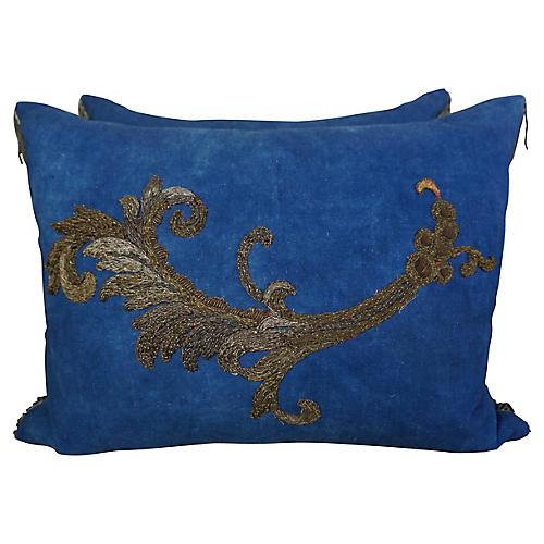 Metallic Appliqued Linen Pillows, Pair