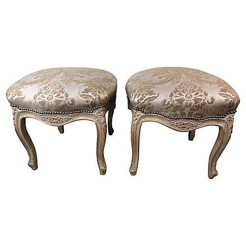 Giltwood Fortuny French Benches, Pair