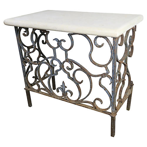 19th C. Wrought Iron Console