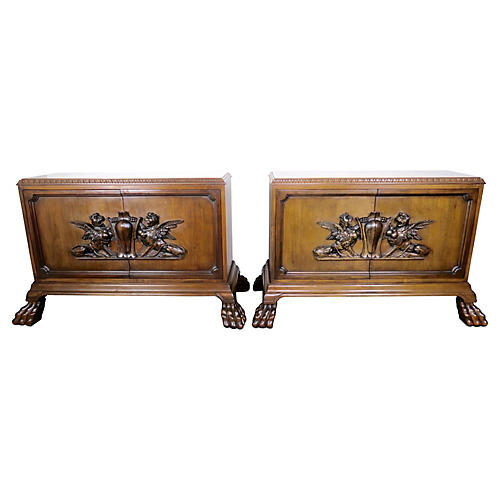 Pair of English Lion Paw Cabinets