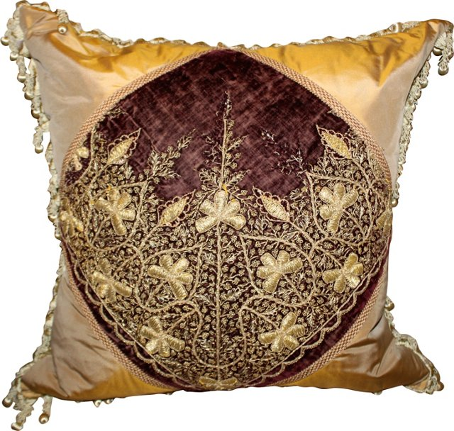 Metallic Embroidered Textile Pillow