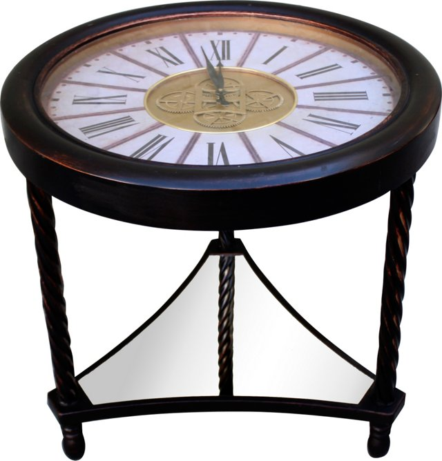 Carved Wood Clock Table
