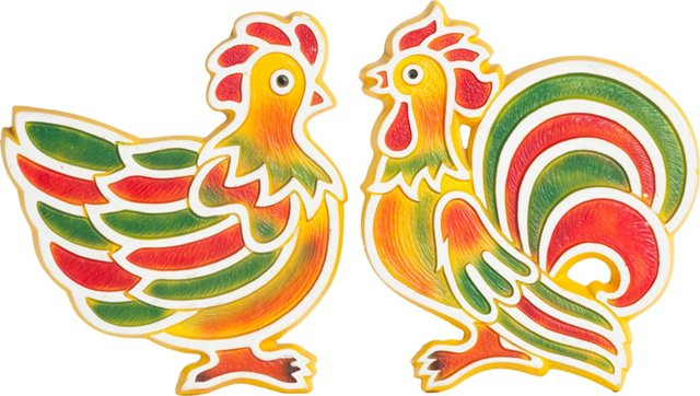 Chicken & Rooster Hangings, Pair
