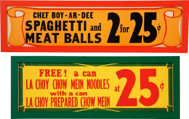 Graphic Grocery Signs, Pair