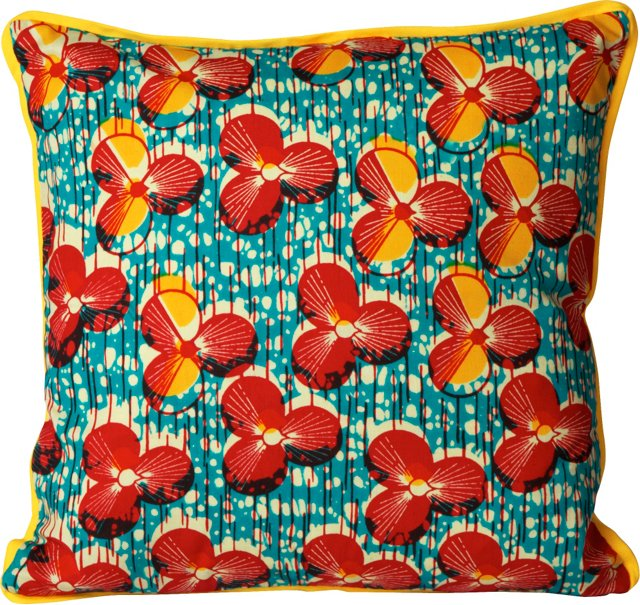 Pillow w/ Floral African Fabric