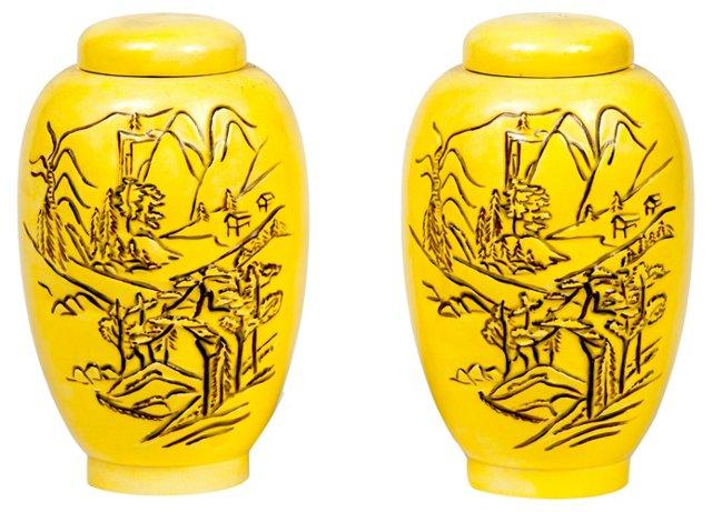1950s Yellow Asian Jars, Pair